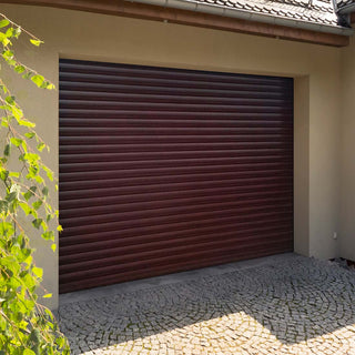 Image: Gliderol Electric Insulated Roller Garage Door from 2135 to 2286mm Wide - Rosewood