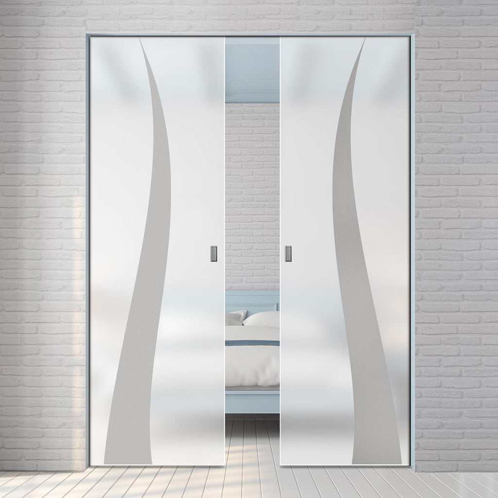 Roslin 8mm Obscure Glass - Obscure Printed Design - Double Absolute Pocket Door