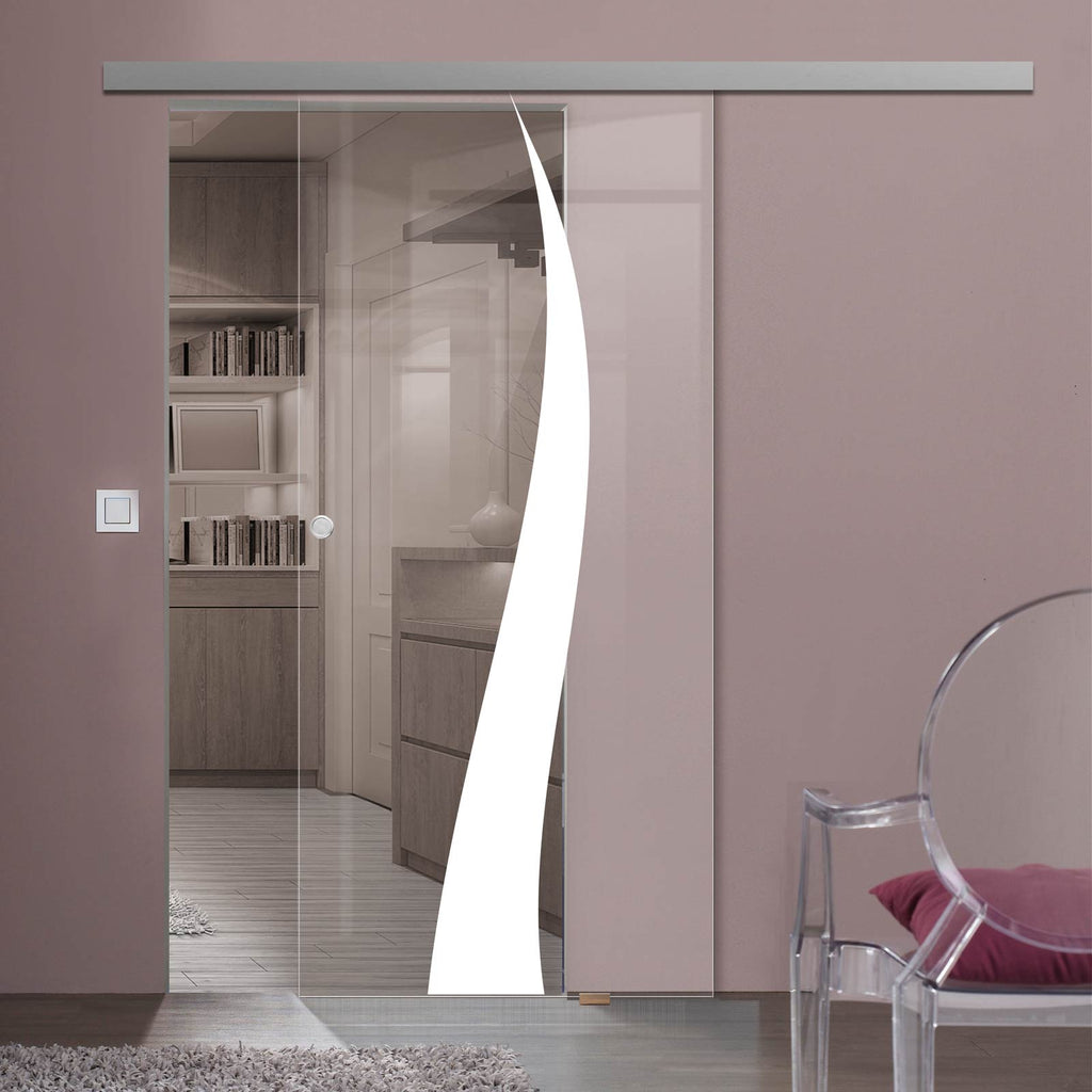 Single Glass Sliding Door - Roslin 8mm Clear Glass - Obscure Printed Design - Planeo 60 Pro Kit