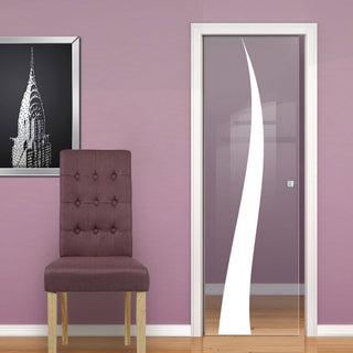 Image: Roslin 8mm Clear Glass - Obscure Printed Design - Single Evokit Glass Pocket Door