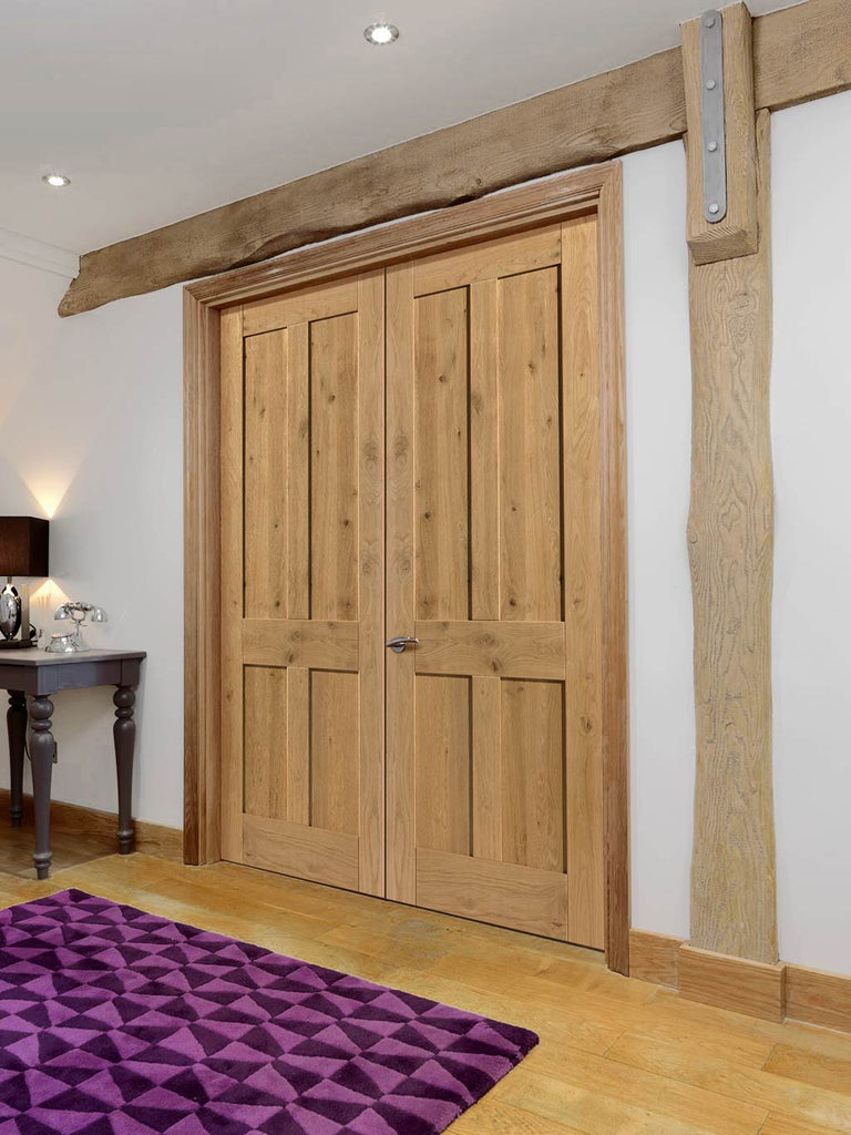 J B Kind Rustic Oak Shaker 4 Panel Door Pair - Prefinished