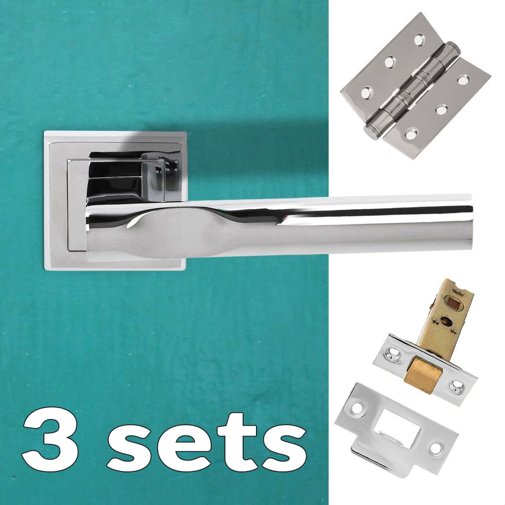 Three Pack Kansas Status Lever on Square Rose - Polished Chrome Handle