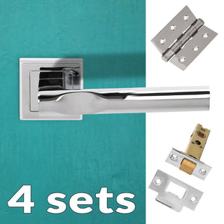 Image: Four Pack Kansas Status Lever on Square Rose - Polished Chrome Handle