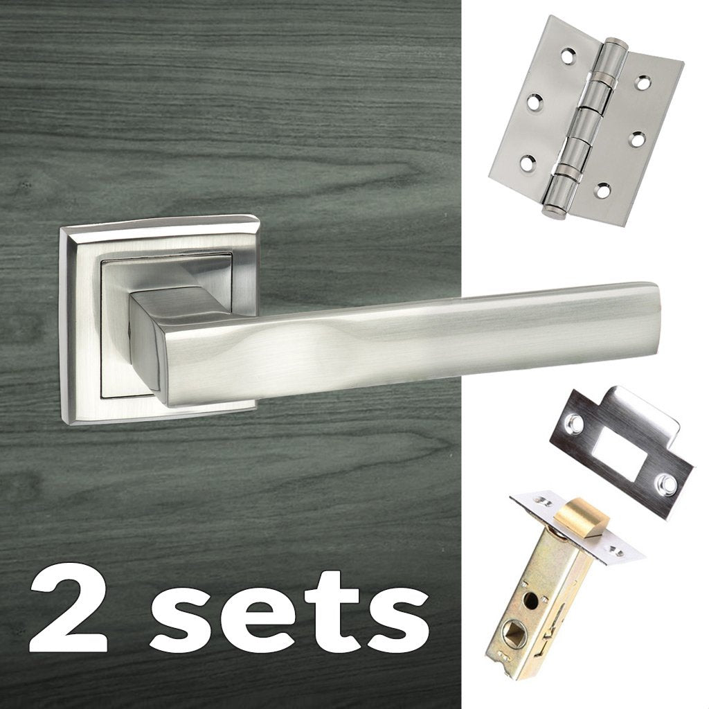 Two Pack Kansas Status Lever on Square Rose - Satin Chrome Handle