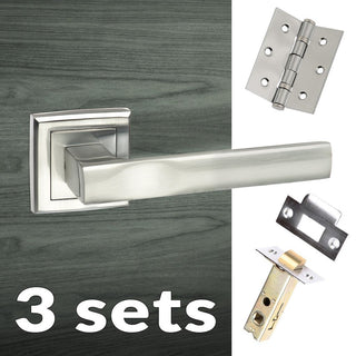 Image: Three Pack Kansas Status Lever on Square Rose - Satin Chrome Handle
