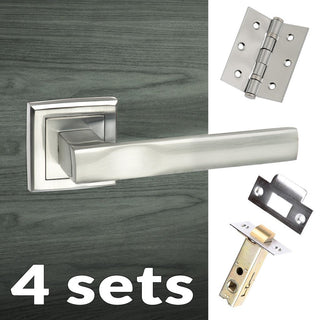 Image: Four Pack Kansas Status Lever on Square Rose - Satin Chrome Handle