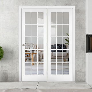 Image: ThruEasi Room Divider - SA 15L Clear Glass White Primed Door with Single Side - 2018mm High - Multiple Widths