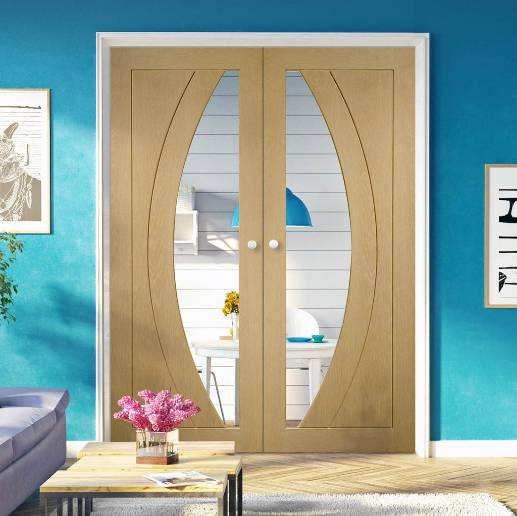 Prefinished Salerno Oak Door Pair - Clear Glass - Choose Your Colour