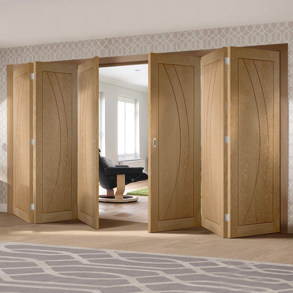Six Folding Doors & Frame Kit - Salerno Oak Flush 3+3 - Unfinished