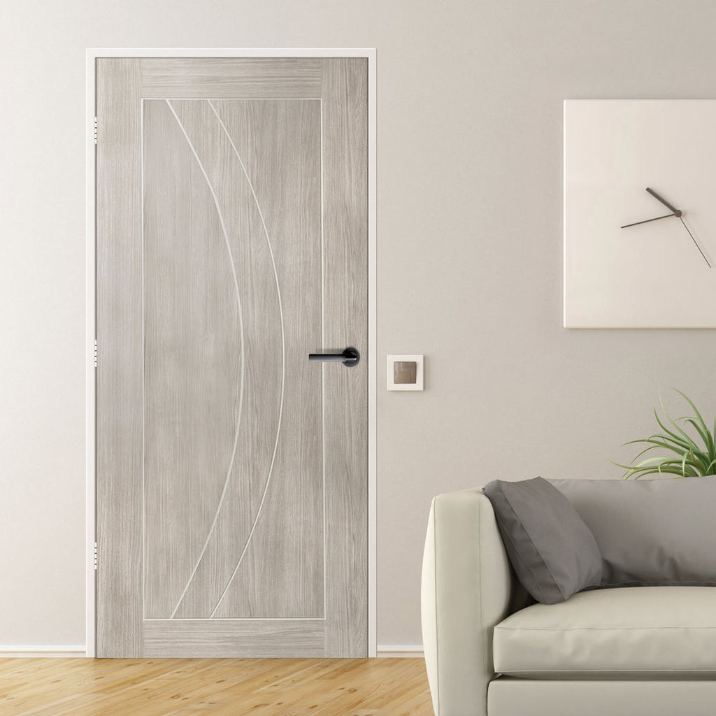 Mode Salerno Door - White Grey Laminate - 1/2 Hour Fire Rated - Prefinished
