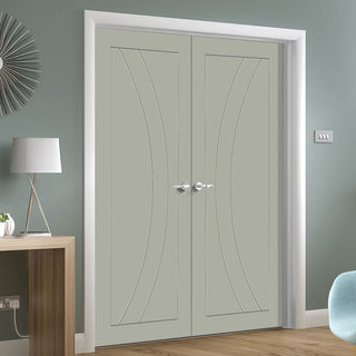 Image: Prefinished Salerno Flush Door Pair - Choose Your Colour