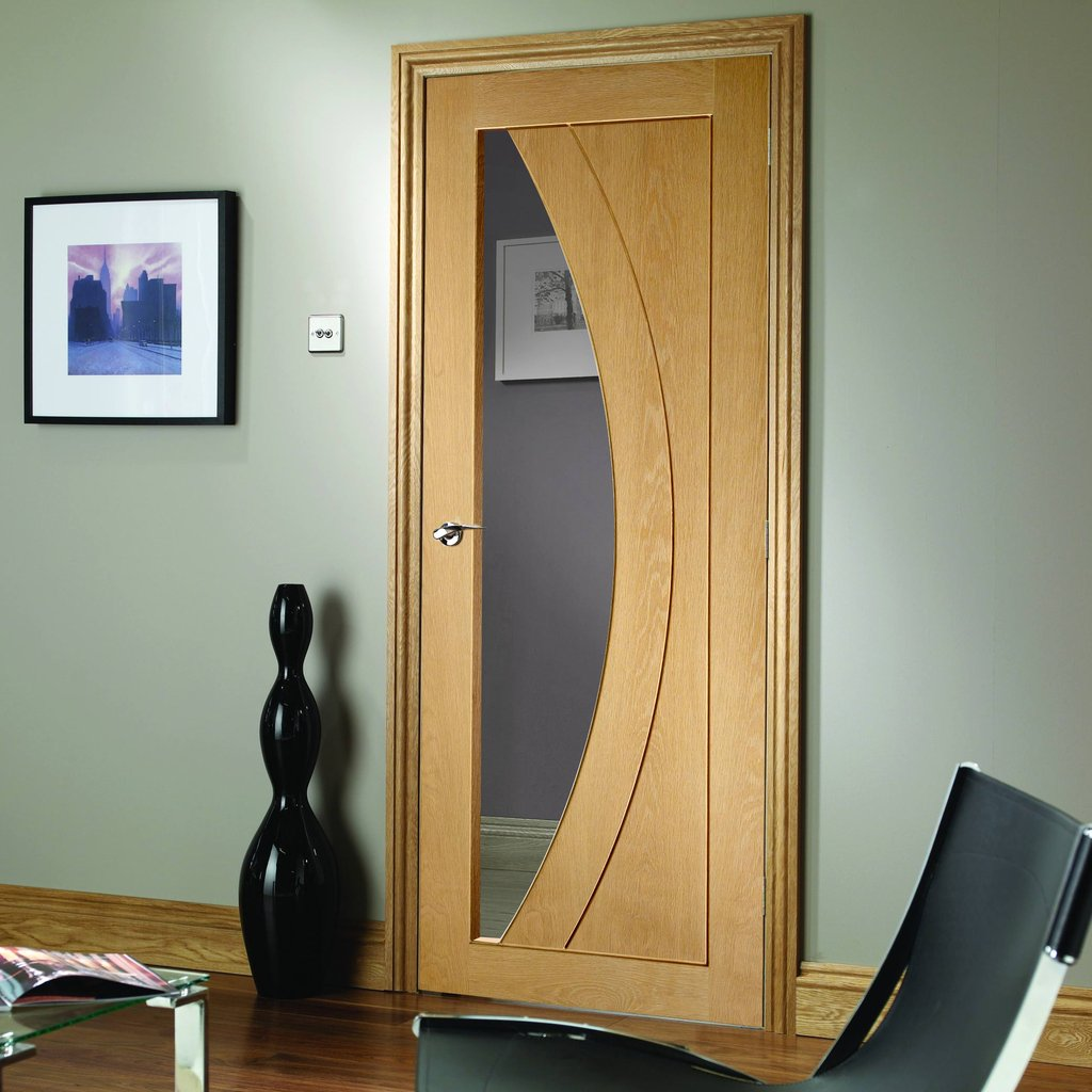 Door and Frame Kit - Salerno Oak Door - Clear Glass - Prefinished