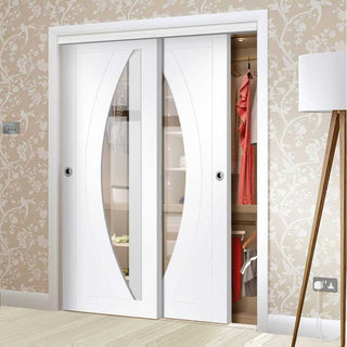 Image: Bespoke Thruslide Salerno Glazed 2 Door Wardrobe and Frame Kit - White Primed - White Primed