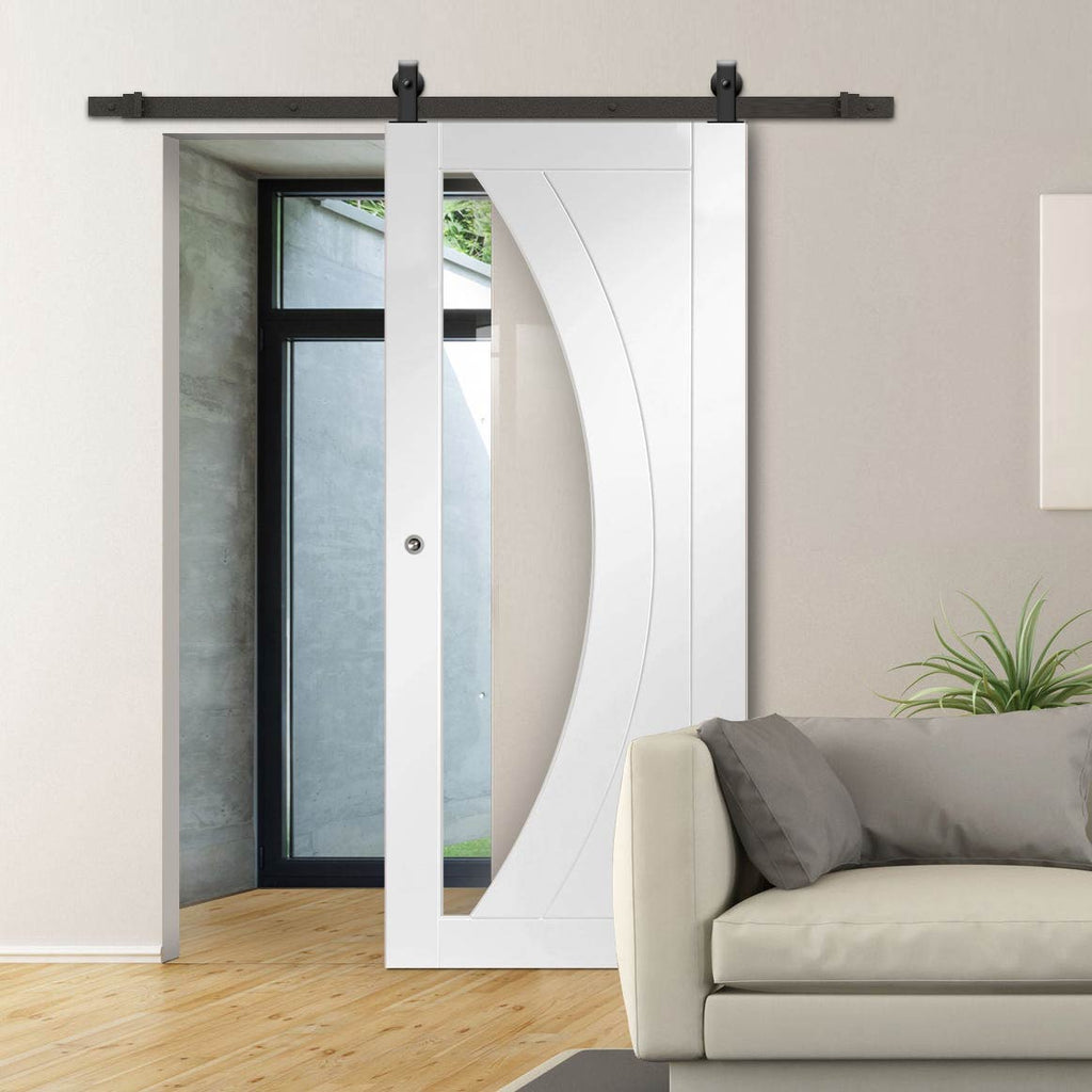 Top Mounted Sliding Track & Door - Salerno Door - Clear Glass - White Primed