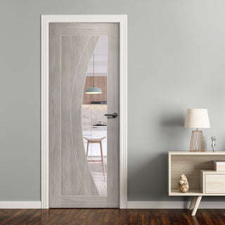 Image: Mode Salerno Door - White Grey Laminate - Clear Glass - Prefinished