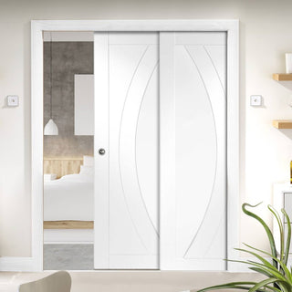 Image: Salerno Staffetta Twin Telescopic Pocket Doors - Primed