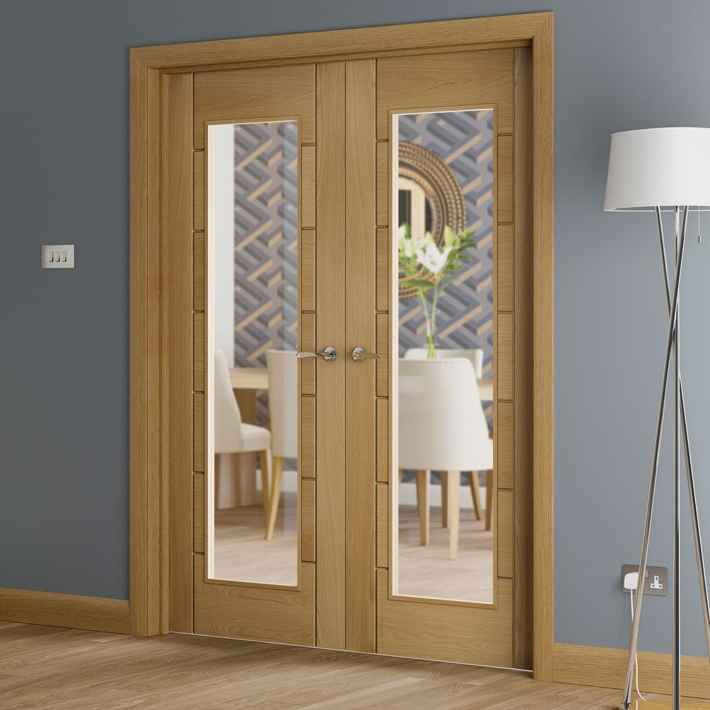 Palermo Oak Door Pair - Clear Glass