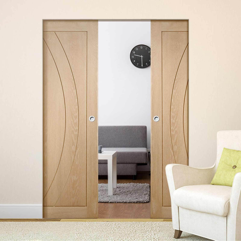 Bespoke Salerno Oak Flush Double Frameless Pocket Door - Prefinished
