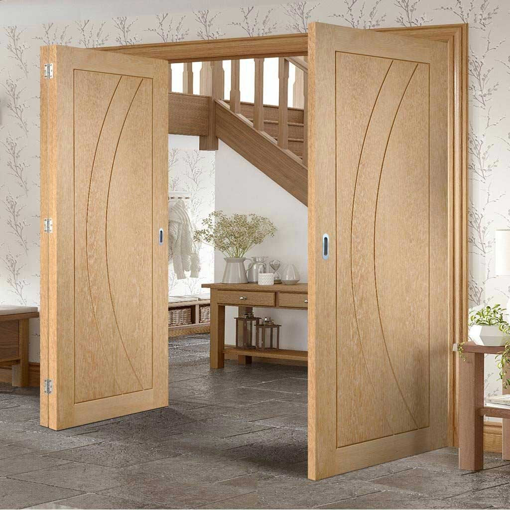 Bespoke Thrufold Salerno Oak Flush Folding 2+1 Door - Prefinished