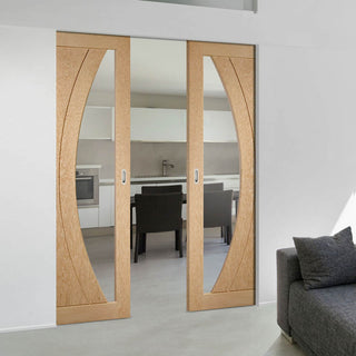 Image: Bespoke Salerno Oak Glazed Double Frameless Pocket Door - Prefinished