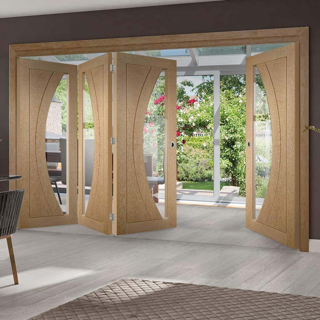 Bespoke Thrufold Salerno Oak Glazed Folding 3+1 Door