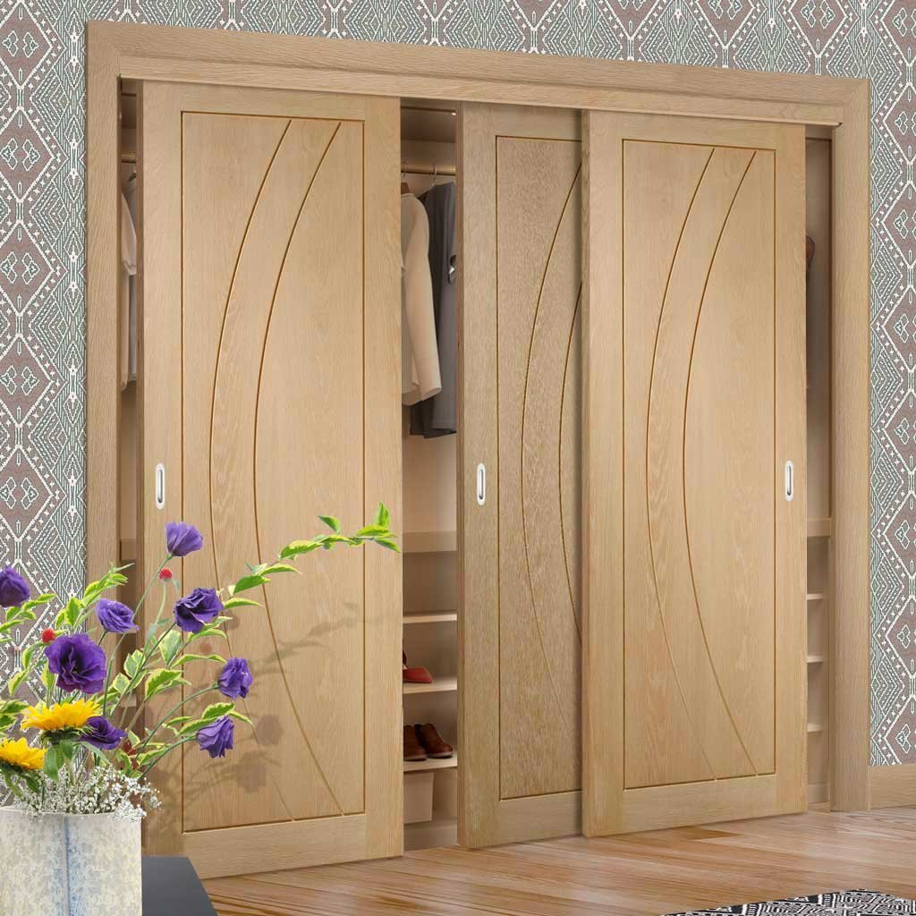 Minimalist Wardrobe Door & Frame Kit - Three Salerno Oak Flush Doors - Prefinished