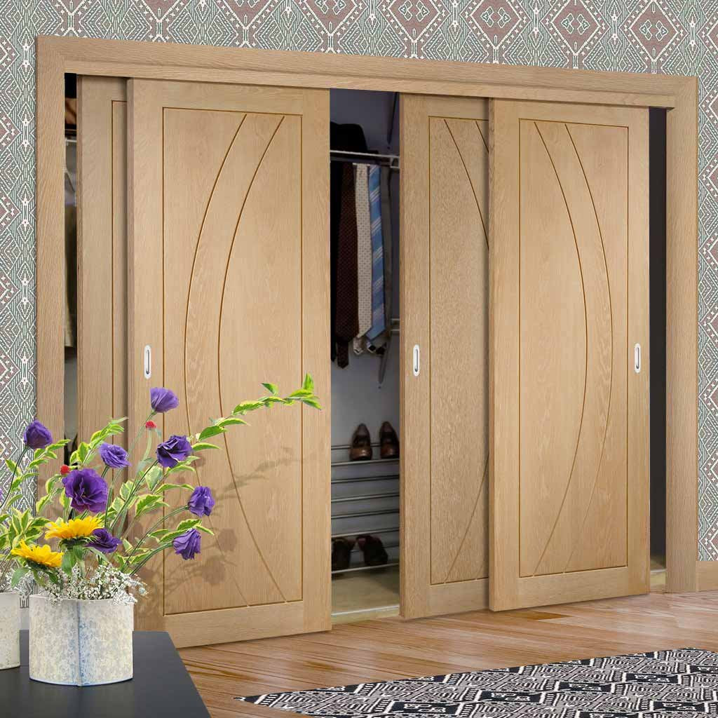 Bespoke Thruslide Salerno Oak Flush 4 Door Wardrobe and Frame Kit