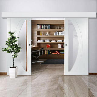 Image: Thruslide Surface Salerno - Sliding Double Door and Track Kit - Clear Glass - White Primed