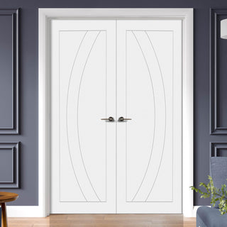 Image: Simpli Double Door Set - Salerno Flush Door - White Primed