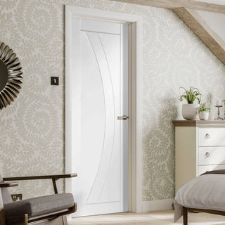 Image: Fire Proof Salerno Flush Fire Door - 30 Minute Fire Rated - White Primed