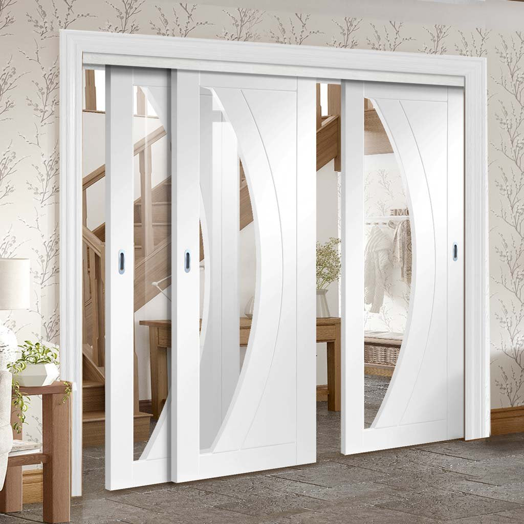 Three Sliding Doors and Frame Kit - Salerno Door - Clear Glass - White Primed