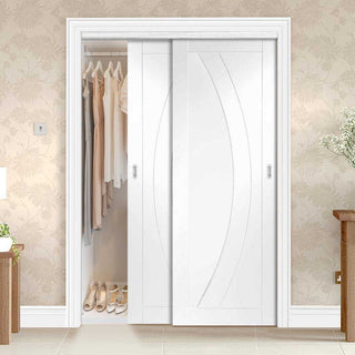 Image: Thruslide Salerno Flush 2 Door Wardrobe and Frame Kit - White Primed