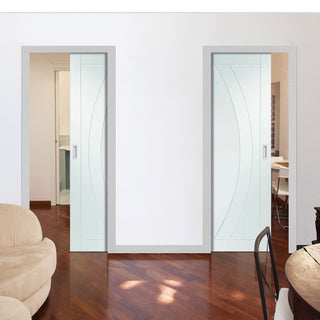 Image: Salerno Unico Evo Pocket Doors - Primed