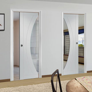 Image: Salerno Unico Evo Pocket Doors - Clear Glass - Primed