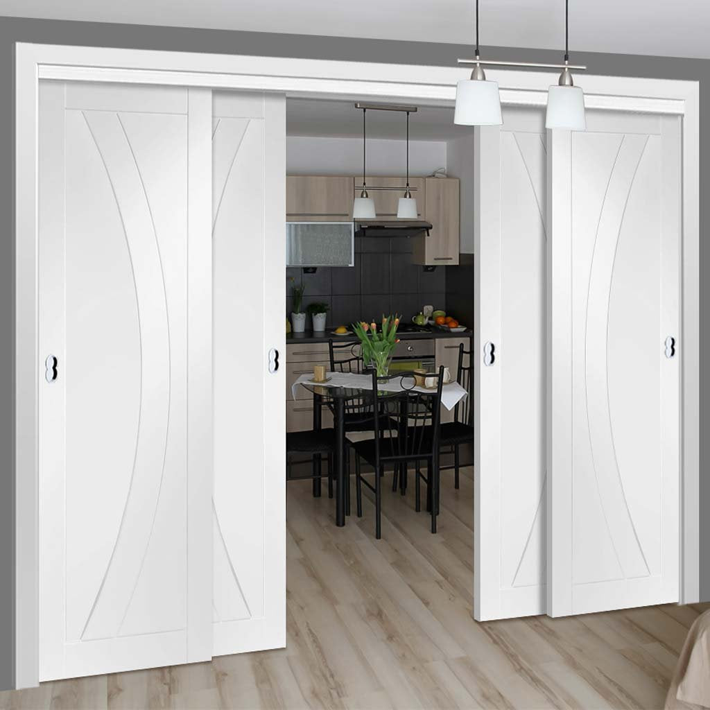 Four Sliding Doors and Frame Kit - Salerno Flush Door - White Primed