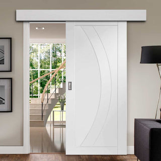 Image: Thruslide Surface Salerno Flush - Sliding Door and Track Kit - White Primed