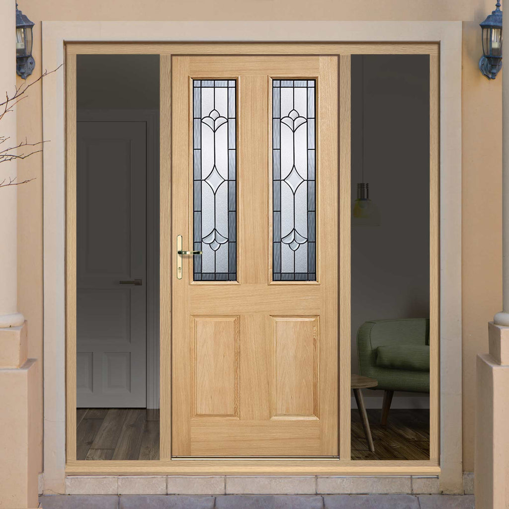Part L Compliant Salisbury Exterior Oak Door and Frame Set - Part Frosted Double Glazing - Two Unglazed Side Screens, From LPD Joinery