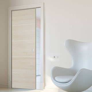 Image: Laminate Santandor Ivory Single Evokit Pocket Door - Prefinished