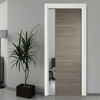 Image: Laminate Santandor Light Grey Single Evokit Pocket Door - Prefinished