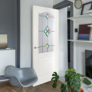 Image: White PVC classic door with grained faces sandblast starburst style toughened glass