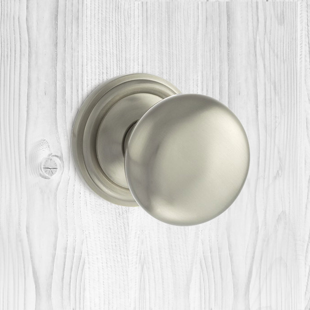 Harrogate Mushroom Old English Mortice Knob - Satin Nickel