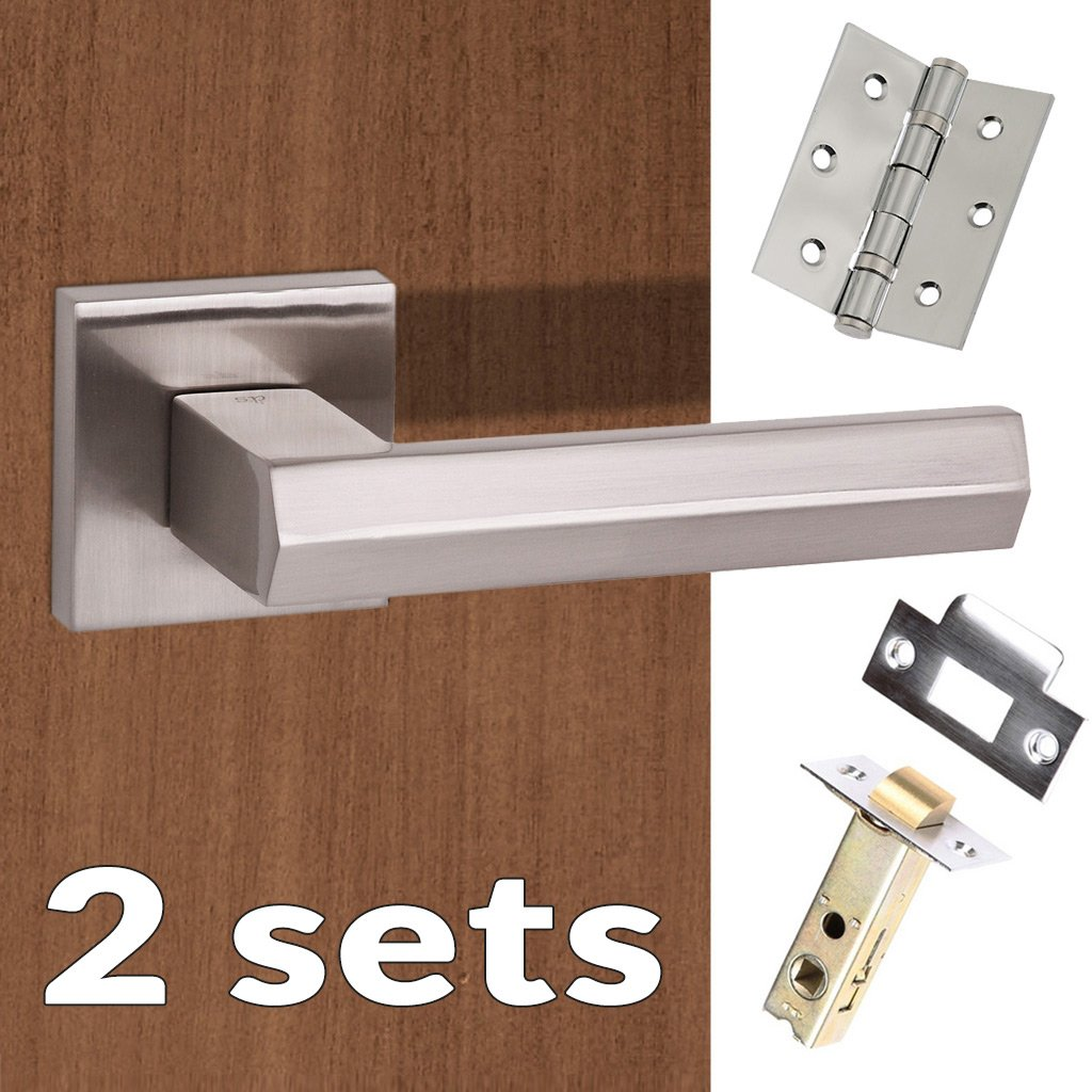 Two Pack Senza Pari Davoli Lever on Flush Rose - Satin Nickel Handle