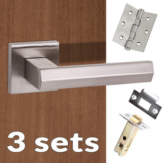 Image: Three Pack Senza Pari Davoli Lever on Flush Rose - Satin Nickel Handle
