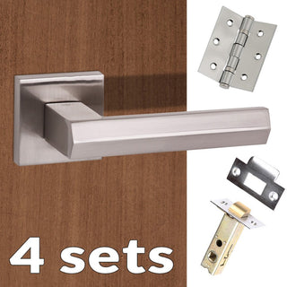 Image: Four Pack Senza Pari Davoli Lever on Flush Rose - Satin Nickel Handle