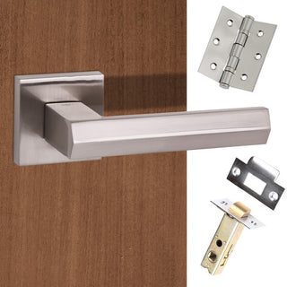 Image: Senza Pari Davoli Lever on Flush Rose - Satin Nickel Handle Pack
