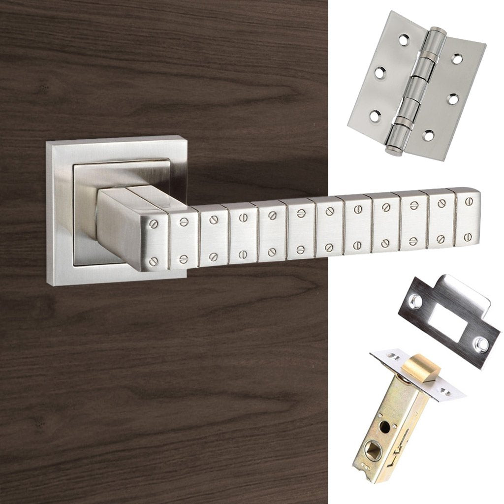 Senza Pari Bianca Lever on Square Rose - Satin Nickel Handle Pack