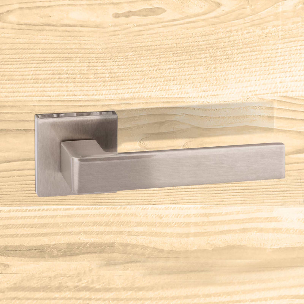 Asti Forme Designer Lever on Minimal Square Rose - Satin Nickel