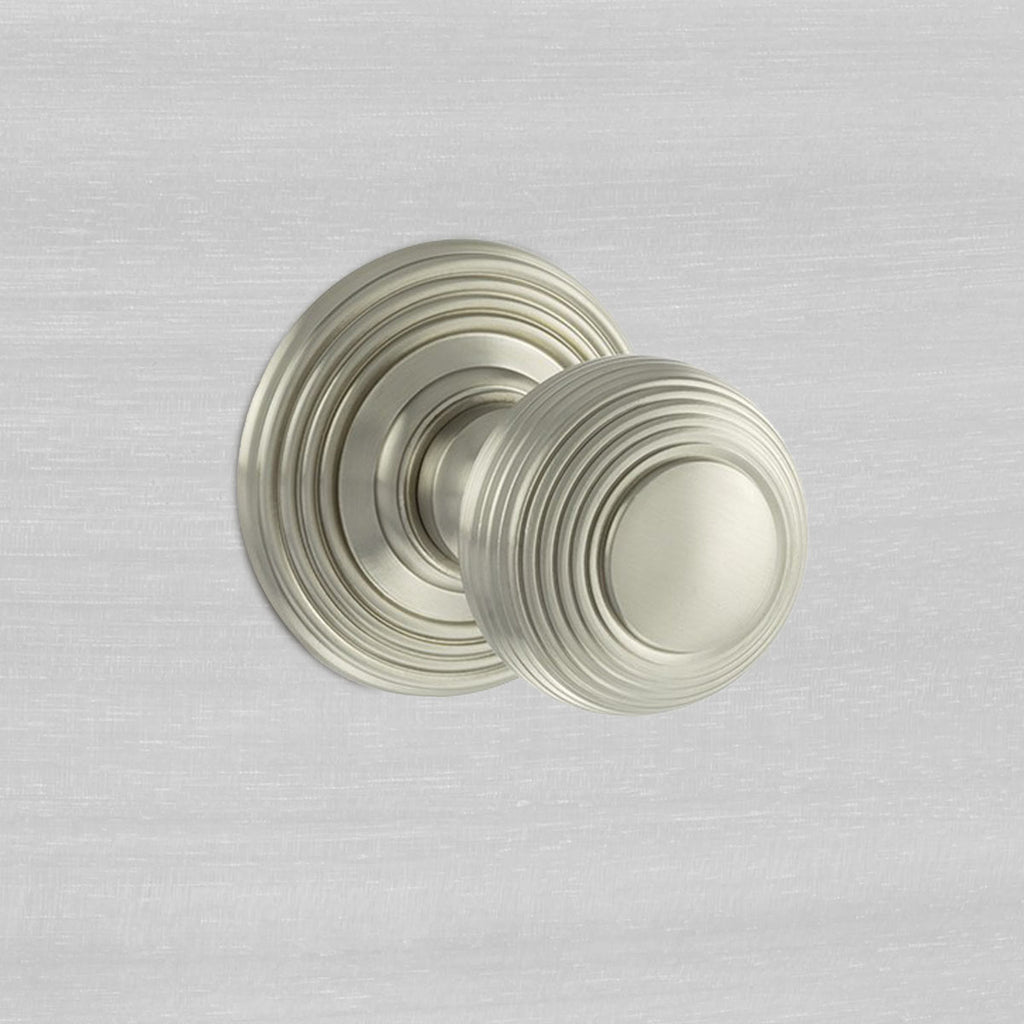 Ripon Reeded Old English Mortice Knob - Satin Nickel