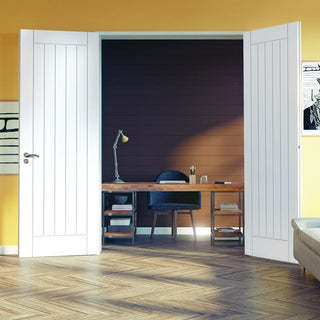 Image: J B Kind Savoy White Primed Flush Door Pair