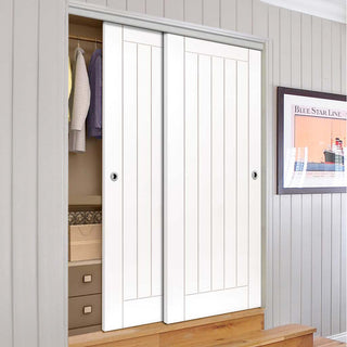 Image: Thruslide Limelight Savoy White Primed Flush 2 Door Wardrobe and Frame Kit